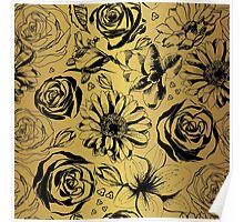 Gold with black flowers. Decorative floral silhouettes  Poster