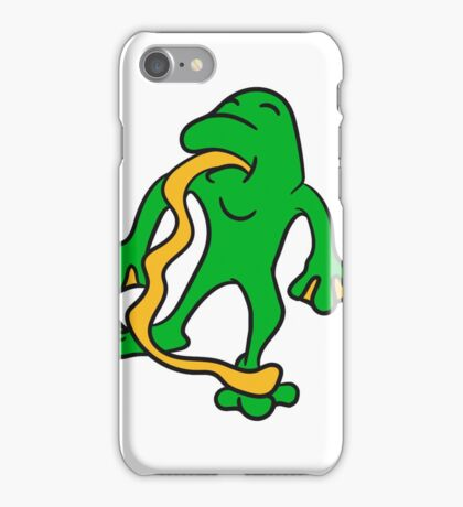 funny tongue out long silly crazy funny little frog iPhone Case/Skin