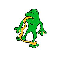 funny tongue out long silly crazy funny little frog Photographic Print