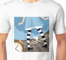 Alice watches as the white rabbit goes down the rabbit hole. Unisex T-Shirt