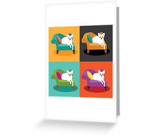 Flat design white Chihuahua on chaise in pop art style Greeting Card