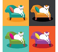Flat design white Chihuahua on chaise in pop art style Photographic Print