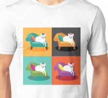 Flat design white Chihuahua on chaise in pop art style Unisex T-Shirt