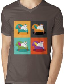 Flat design white Chihuahua on chaise in pop art style Mens V-Neck T-Shirt