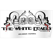 White Dragon - Noodle Bar White Cantonese Text Poster