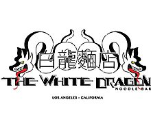 White Dragon - Noodle Bar White Cantonese Text Photographic Print