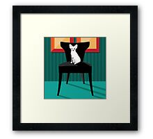 Flat design white Chihuahua on her chair. Framed Print