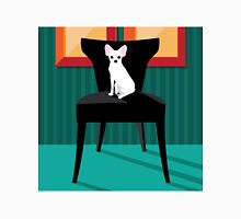 Flat design white Chihuahua on her chair. Unisex T-Shirt