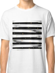 Gold elements on black and white stripe background.  Classic T-Shirt