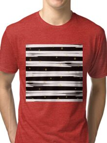Gold elements on black and white stripe background.  Tri-blend T-Shirt
