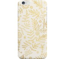 Gold elegant stylish hand draw floral wallpaper iPhone Case/Skin