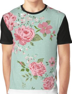 Vintage floral background of flowers-rose, peony, chamomile. Graphic T-Shirt