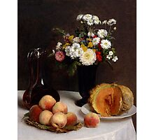 Henri Fantin-Latour - Still Life with a Carafe, Flowers and Fruit 1865 Photographic Print