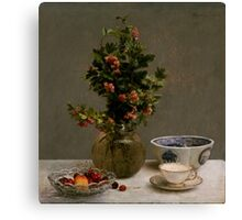 Henri Fantin-Latour - Still Life with Vase of Hawthorn, Bowl of Cherries, Japanese Bowl, and Cup and Saucer 1872 Canvas Print