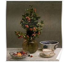 Henri Fantin-Latour - Still Life with Vase of Hawthorn, Bowl of Cherries, Japanese Bowl, and Cup and Saucer 1872 Poster