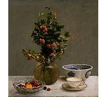 Henri Fantin-Latour - Still Life with Vase of Hawthorn, Bowl of Cherries, Japanese Bowl, and Cup and Saucer 1872 Photographic Print
