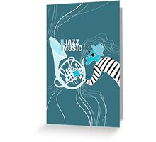 illustration of a Jazz poster with saxophonist Greeting Card