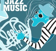 illustration of a Jazz poster with saxophonist Sticker