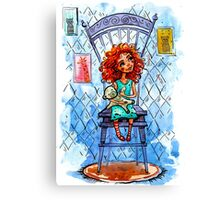 Girl with a bear on chair.  watercolor Illustration Canvas Print