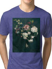 Henri Fantin-Latour - Vase of Flowers . Flowers , Bouquet of Flowers Tri-blend T-Shirt