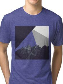 Modern Minimalistic Black and White Rock Art Tri-blend T-Shirt