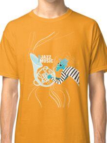 illustration of a Jazz poster with saxophonist Classic T-Shirt
