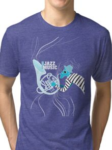illustration of a Jazz poster with saxophonist Tri-blend T-Shirt