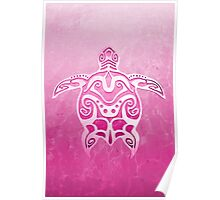 Tribal Turtle pink Poster