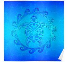 Maori Ocean Blue Turtle Poster