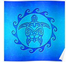 Blue Maori Turtle Poster