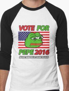 Vote Pepe Sad Frog 2016 Men's Baseball ¾ T-Shirt
