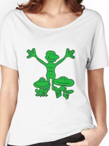 3 frog friends team, family, children papa mama love happy siblings twins Women's Relaxed Fit T-Shirt
