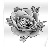 Black and White Watercolour Rose Poster