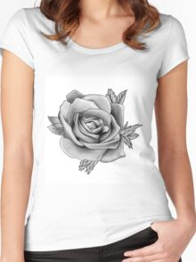 Black and White Watercolour Rose Women's Fitted Scoop T-Shirt