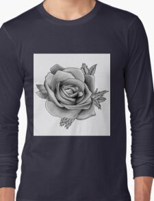 Black and White Watercolour Rose Long Sleeve T-Shirt