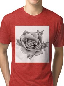 Black and White Watercolour Rose Tri-blend T-Shirt