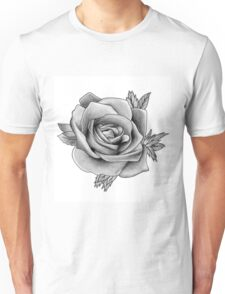 Black and White Watercolour Rose Unisex T-Shirt