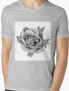 Black and White Watercolour Rose Mens V-Neck T-Shirt