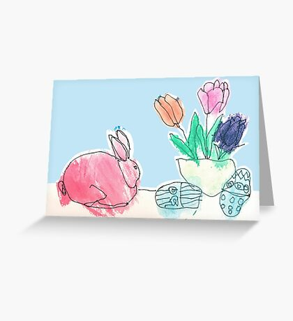 Pink Rabbit With Spring Tulips and Easter Eggs Greeting Card