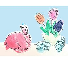 Pink Rabbit With Spring Tulips and Easter Eggs Photographic Print
