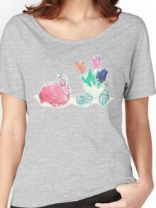 Pink Rabbit With Spring Tulips and Easter Eggs Women's Relaxed Fit T-Shirt