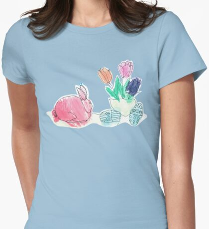 Pink Rabbit With Spring Tulips and Easter Eggs Womens Fitted T-Shirt