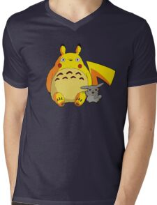 Totorotchu and Pikaro Mens V-Neck T-Shirt
