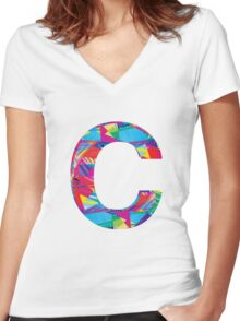 Fun Letter - C Women's Fitted V-Neck T-Shirt