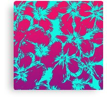 Tropical Neon Pink and Aqua Flower Pattern Canvas Print