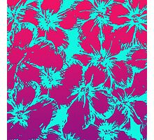 Tropical Neon Pink and Aqua Flower Pattern Photographic Print