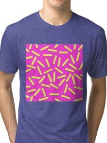 Fun Yellow Confetti on Neon Pink Tri-blend T-Shirt