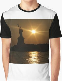 Sunset and Lady Liberty Graphic T-Shirt