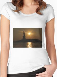 Sunset and Lady Liberty Women's Fitted Scoop T-Shirt