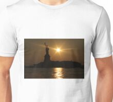 Sunset and Lady Liberty Unisex T-Shirt
